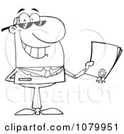 Clipart Outlined Businessman Holding A Contractual Agreement Royalty Free Vector Illustration