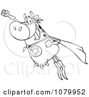Clipart Outlined Super Cow Flying Royalty Free Vector Illustration by Hit Toon