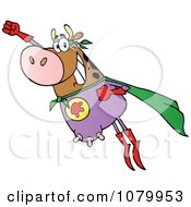 Clipart Brown Super Cow Flying Royalty Free Vector Illustration by Hit Toon