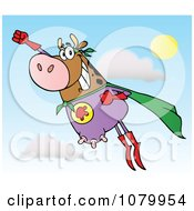 Clipart Brown Super Hero Cow Flying Royalty Free Vector Illustration by Hit Toon