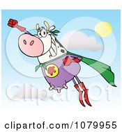 Clipart White Super Hero Cow Flying Royalty Free Vector Illustration by Hit Toon