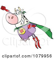 Clipart White Super Cow Flying Royalty Free Vector Illustration by Hit Toon