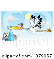 Clipart Baby Adoption Stork With A Black Child Against A Sky Royalty Free Vector Illustration by Hit Toon