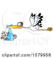 Clipart Baby Adoption Stork With A Black Child Royalty Free Vector Illustration