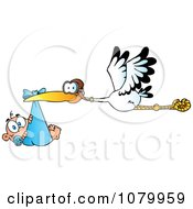 Clipart Baby Adoption Stork With A Caucasian Child Royalty Free Vector Illustration by Hit Toon