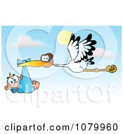 Clipart Baby Adoption Stork With A Caucasian Child Against A Sky Royalty Free Vector Illustration by Hit Toon