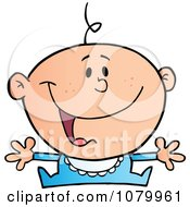 Clipart Happy Caucasian Baby Holding His Arms Out Royalty Free Vector Illustration
