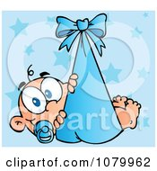 Clipart Caucasian Baby In A Blue Bundle Over Stars Royalty Free Vector Illustration