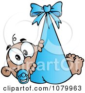 Clipart Black Baby In A Blue Bundle Royalty Free Vector Illustration by Hit Toon