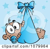 Clipart Black Baby In A Blue Bundle Over Stars Royalty Free Vector Illustration