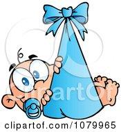 Caucasian Baby In A Blue Bundle