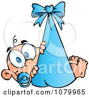 Clipart Caucasian Baby In A Blue Bundle Royalty Free Vector Illustration