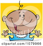 Clipart Happy Black Baby Holding His Arms Out Over Yellow Royalty Free Vector Illustration