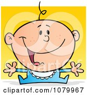 Clipart Happy Caucasian Baby Holding His Arms Out Over Yellow Royalty Free Vector Illustration