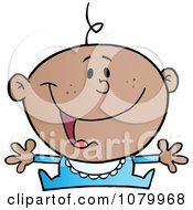 Clipart Happy Black Baby Holding His Arms Out Royalty Free Vector Illustration