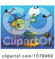 Clipart Cat Watching A Green Halloween Witch Holding A Frog Over A Cauldron Royalty Free Vector Illustration