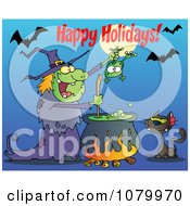Clipart Happy Holidays Greeting Over A Green Halloween Witch Making A Potion Royalty Free Vector Illustration