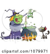 Clipart Cat Watching An Ugly Halloween Witch Holding A Frog Over A Cauldron Royalty Free Vector Illustration