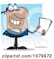 Clipart Black Salesman Holding A Contractual Agreement Royalty Free Vector Illustration