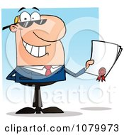 Clipart Caucasian Salesman Holding A Contractual Agreement Royalty Free Vector Illustration