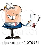 Clipart Caucasian Businessman Holding A Contractual Agreement Royalty Free Vector Illustration