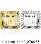 Clipart Gold And Silver February Burst Calendars Royalty Free Vector Illustration