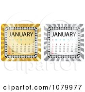 Clipart Gold And Silver January Burst Calendars Royalty Free Vector Illustration