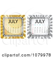 Clipart Gold And Silver July Burst Calendars Royalty Free Vector Illustration