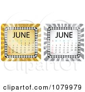 Clipart Gold And Silver June Burst Calendars Royalty Free Vector Illustration