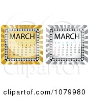 Clipart Gold And Silver March Burst Calendars Royalty Free Vector Illustration