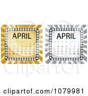 Clipart Gold And Silver April Calendars Royalty Free Vector Illustration