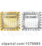Clipart Gold And Silver December Calendars Royalty Free Vector Illustration