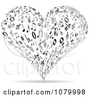 Clipart Black And White Music Note Heart Royalty Free Vector Illustration
