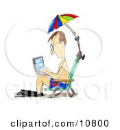 A Man In Swimming Gear Seated In A Beach Chair Under An Umbrella Surfing The Internet On A Laptop Computer