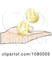 Clipart Hand Catching Gold Dollar Coins Royalty Free Vector Illustration by Andrei Marincas