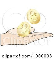 Clipart Hand Catching Gold Euro Coins Royalty Free Vector Illustration