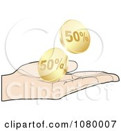 Clipart Hand Catching Gold Fifty Percent Discount Coins Royalty Free Vector Illustration