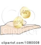 Clipart Hand Catching Gold Forty Percent Discount Coins Royalty Free Vector Illustration by Andrei Marincas