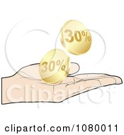 Clipart Hand Catching Gold Thirty Percent Discount Coins Royalty Free Vector Illustration by Andrei Marincas