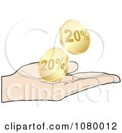 Clipart Hand Catching Gold Twenty Percent Discount Coins Royalty Free Vector Illustration by Andrei Marincas