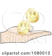 Clipart Hand Catching Gold Yen Coins Royalty Free Vector Illustration by Andrei Marincas