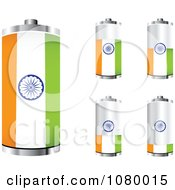 Clipart 3d Indian Flag Batteries At Different Charge Levels Royalty Free Vector Illustration