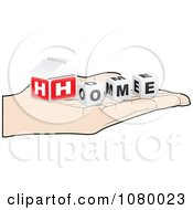 Clipart Hand Holding 3d HOME Cubes Royalty Free Vector Illustration by Andrei Marincas