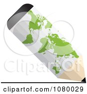 Clipart White 3d Pencil With A Green World Map Royalty Free Vector Illustration