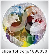 Clipart Colorful Globe With Music Note Continents Royalty Free Vector Illustration