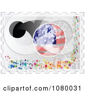 Clipart American Stamp With A Globe And Dots Royalty Free Vector Illustration by Andrei Marincas