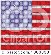 Clipart American Flag With A Floral Bubble Pattern Royalty Free Vector Illustration