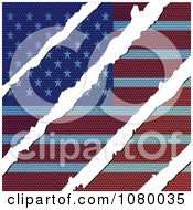 Clipart Rips Through A Wooden USA Flag Royalty Free Vector Illustration