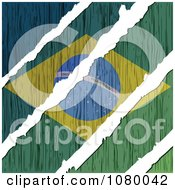 Clipart Rips Through A Wooden Brazil Flag Royalty Free Vector Illustration