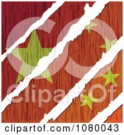 Clipart Rips Through A Wooden Chinese Flag Royalty Free Vector Illustration